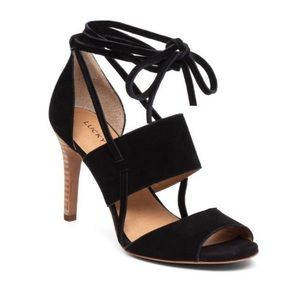 LUCKY BRAND SUEDE BLACK SALANA STRAPPY SANDAL HEEL